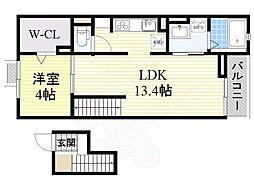 La Luce 4階1LDKの間取り