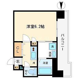 Osaka Metro堺筋線 日本橋駅 徒歩5分の賃貸マンション 13階1Kの間取り