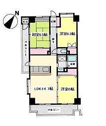 サニーヒル石川3[201号室]の間取り
