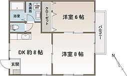 ハイツヤマト[1階]の間取り
