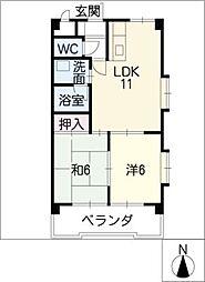 第三宮脇笹川ハイツB棟[8階]の間取り