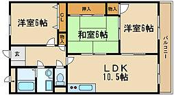 兵庫県伊丹市北園1丁目の賃貸マンションの間取り