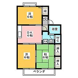 セジュール秋桜B[1階]の間取り