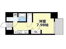新梅田セントラルヒルズ 2階ワンルームの間取り