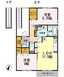 神奈川県藤沢市西俣野の賃貸アパートの間取り
