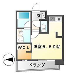 愛知県名古屋市東区葵2の賃貸マンションの間取り
