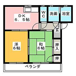 プリンスハイム[1階]の間取り