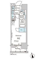 JR京葉線 越中島駅 徒歩14分の賃貸マンション 3階ワンルームの間取り