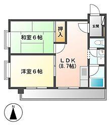 レスカール松原[5階]の間取り