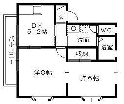 グローリィ三和[2階]の間取り
