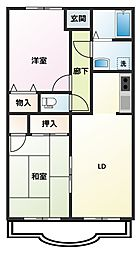 藤和マンションII[1階]の間取り