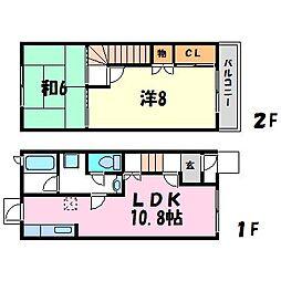 兵庫県西宮市大畑町の賃貸アパートの間取り