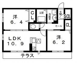 G court Hirano(ジーコートヒラノ)[105号室号室]の間取り