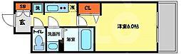 プレサンス南堀江 8階1Kの間取り