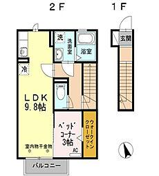 シュプリーム Takehachi B[2階]の間取り
