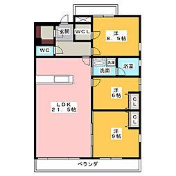 CASA 川名山[2階]の間取り