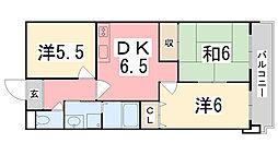 ロイヤルコーポ姫路栗山町[605号室]の間取り