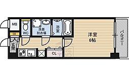 クレアート北大阪レヴァンテ 14階1Kの間取り