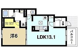 イストワール 1階1LDKの間取り