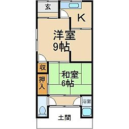 大阪府枚方市香里園東之町の賃貸アパートの間取り