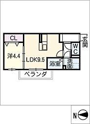 愛知県西尾市吉良町上横須賀宮腰の賃貸アパートの間取り