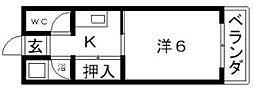 田辺ハイム[4階]の間取り