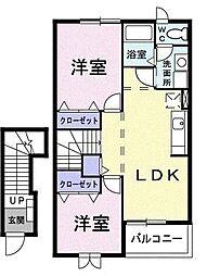 東京都日野市旭が丘2丁目の賃貸アパートの間取り