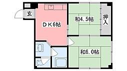 梶尾マンション[203号室]の間取り