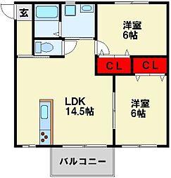 プチメゾン石坪II[2階]の間取り