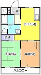東京都小平市小川西町5丁目の賃貸マンションの間取り
