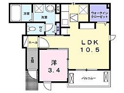 埼玉県上尾市本町3丁目の賃貸アパートの間取り