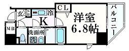 ファーストフィオーレ福島野田 9階1Kの間取り