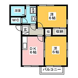 シュクルA[2階]の間取り