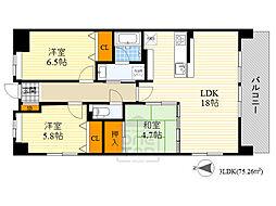 IZUMI HILLS 6階3LDKの間取り