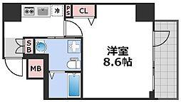 エグゼ西天満 6階1Kの間取り
