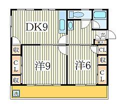 鰭ヶ崎コーポ[4階]の間取り