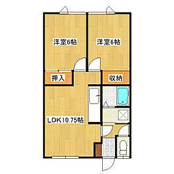 関マンション[2-2号室]の間取り