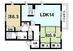 JR桜井線 櫟本駅 徒歩5分の賃貸アパート 2階2LDKの間取り