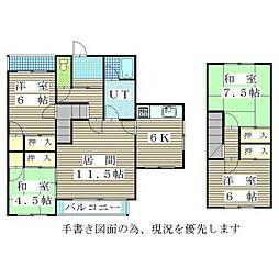 JR学園都市線 篠路駅 5.7kmの賃貸一戸建て 2階4LDKの間取り