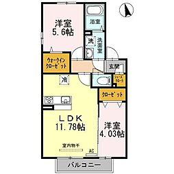 JR鹿児島本線 西牟田駅 3.4kmの賃貸アパート 1階2LDKの間取り