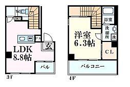阪神本線 今津駅 徒歩1分の賃貸マンション 4階1LDKの間取り