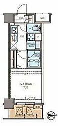 東京メトロ日比谷線 仲御徒町駅 徒歩6分の賃貸マンション 8階1Kの間取り