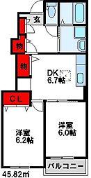 福岡県宗像市大井の賃貸アパートの間取り