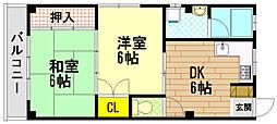 ハイツイースト須磨[2階]の間取り