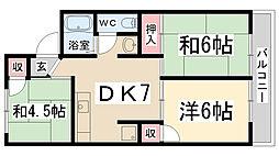 兵庫県伊丹市野間5丁目の賃貸アパートの間取り