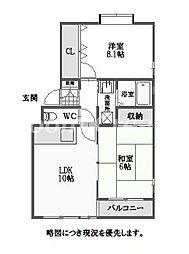 徳島県徳島市春日2丁目の賃貸アパートの間取り