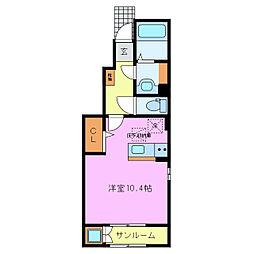 近鉄名古屋線 伊勢朝日駅 徒歩24分の賃貸アパート 1階1Kの間取り