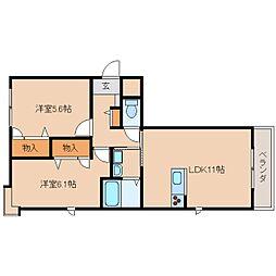 近鉄天理線 二階堂駅 徒歩10分の賃貸マンション 1階2LDKの間取り
