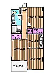 千葉県市川市欠真間2丁目の賃貸マンションの間取り