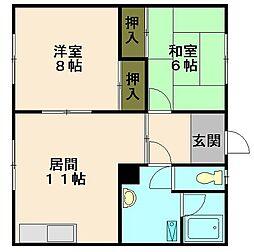第5緑荘 1階2LDKの間取り